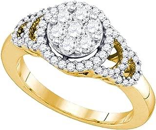 0.71 Carat (ctw) 10K Round Diamond Ladies Cluster Right Hand Fashion Ring 3/4 CT, Yellow Gold