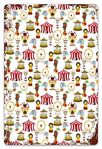 DECISAIYA Vendimia Cartel de Chapa metálica Circo Elefante Oso Mono Animales Merry Go Round Magia Clásico Celebración Imprimir1 Placa Póster,Decoraciones de de Pared de Hierro Retro 20x30cm