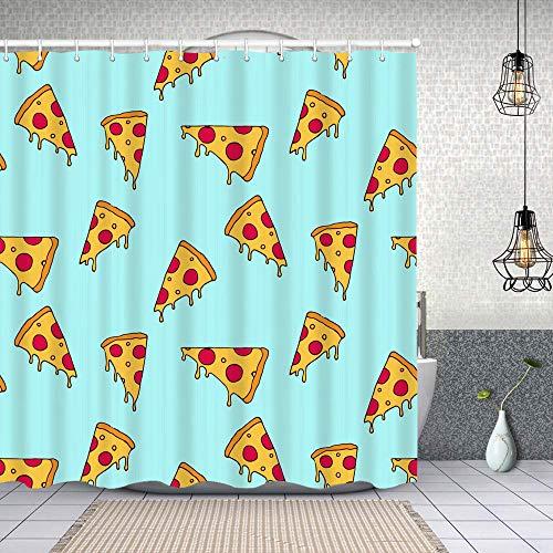 kThrones Duschvorhang,Pizza Slice nahtloses Muster,Waschbar Shower Curtains Wasserdicht & mit 12 Ringe Bad Vorhang 150x180cm