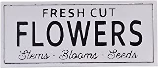 NIKKY HOME Fresh Cut Flowers Vintage Decor Wall Spring Metal Sign, 24.02 x 0.67 x 10.04 Inches, White