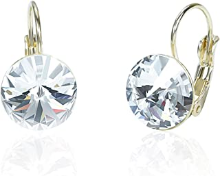 Sparkly Round Swarovski Elements Crystal Leverback Earrings for Women Girls Party Jewelry