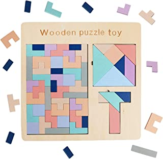 USATDD Wooden Tetris Tangram 3 in 1 Puzzle T Shape Jigsaw Intelligence Game Iq Brain Teasers Building Colorful Blocks Fun Children Educational Colorful Toys Gift for Kids