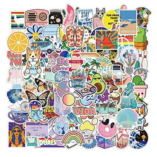 100 Pcs Stickers for Water Bottles Vsco Stickers for Hydro Flask Laptop Luggage Scrapbook Stickers Pack Cute Aesthetics Stickers for Teens Girls