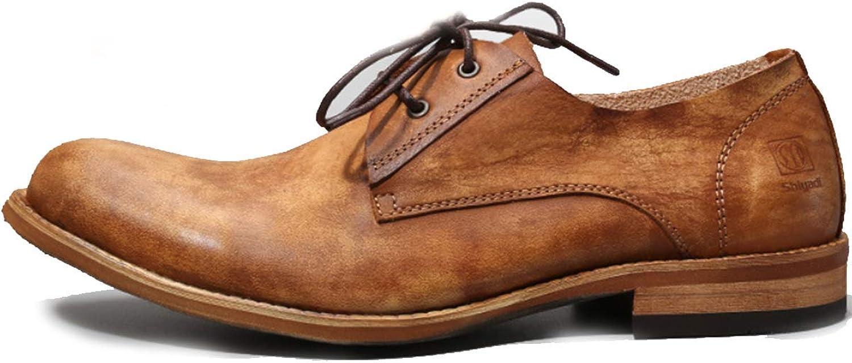 XWQYY Chaussures habillées de Travail Rondes Respirant Simple Britannique rétro Vieux Chaussures pour Hommes Chaussures Tout Confort en Cuir pour Hommes,marron-42EU