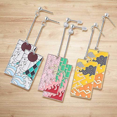 Anime gift, Anime fan, cosplay gifts, 3 Pair Demon Slayer Earrings, FRB-651,Tanjiro & Nezuko & Zenitsu Ear Piercing Plugs for Men and Women
