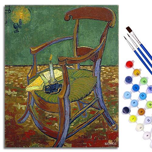 BOVIENCHE Anfänger Starter Kit für Digitale DIY-Malerei für Erwachsene - Gauguins Stuhl Bedruckte Leinwand Kunst Home Decoration 50x40cm Rahmenlos