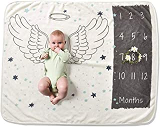 """Baby Monthly Milestone Photo Blanket for Boy or Girl, 30"""" x 40"""" Ultra Soft Angel Wings by Hooked on Baby"""