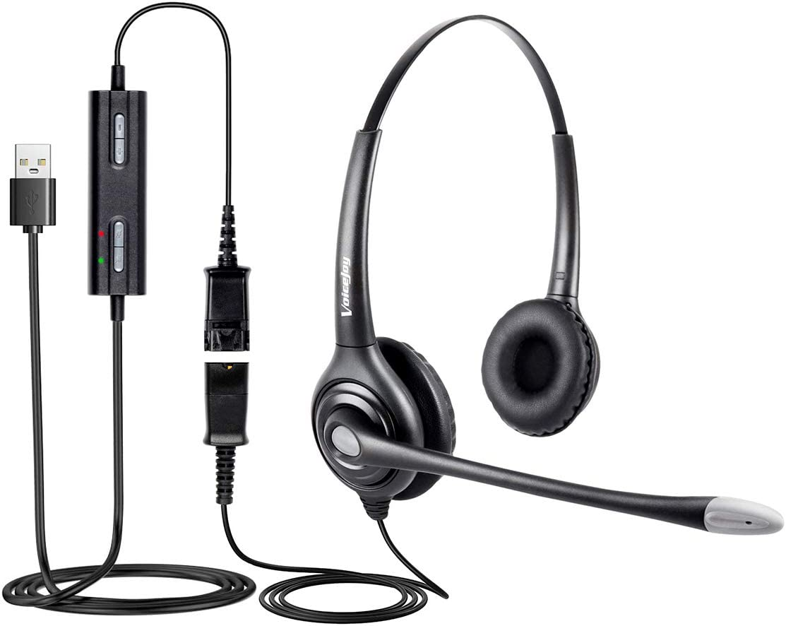 USB Plug Headphone Call Center Comfort Noise Cancelling Headset with Quick Disconnect to USB Adapter for Laptop,PC,Skype,Zoom,Webinar,Call Center,Office