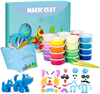 Modeling Clay Kit - 24 Colors Air Dry Ultra Light Magic Clay, Soft & Stretchy DIY Molding Clay with Tools, Animal Accessor...