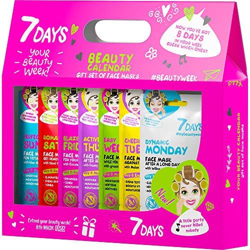 Set Cadeau Beauty Calendar Le Kit de 7 Masques Tissus Soin Complexe Pour Elle Femme Filles Ados Anti-acnés Antirides Pour Tous types de Peaux