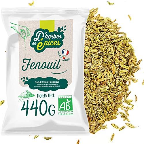 D'HERBES EN EPICES   Graines de fenouil bio 440g   Tisane et infusion bio en vrac   Certifié biologique