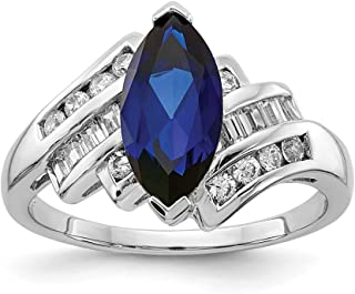 925 Sterling Silver Synthetic Blue Sapphire Cubic Zirconia Cz Band Ring Gemstone Fine Jewelry For Women Gift Set