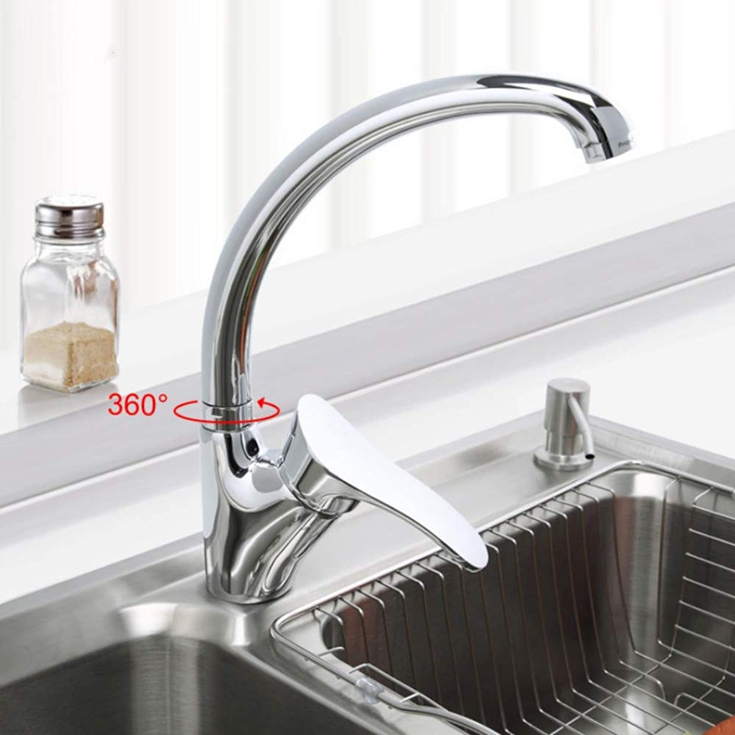 Mzdpp Modern Style Kitchen Faucet Chrome Finish Single Handle Mixer Cold and Hot Kitchen Tap 360 redation