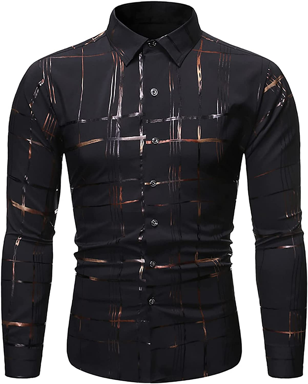 J.Ver Mens Dress Shirts Long Sleeve Shiny Ranking TOP14 Gold Fit Print Direct stock discount Regular