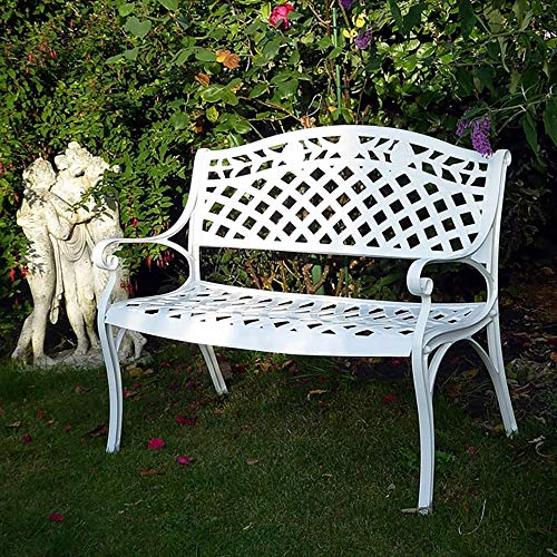 Household Products Outdoor Garden Cast Aluminum Double Chair, Metal Frame Anti-Rust Courtyard Leisure Bench, Outdoor Furniture Terrace Porch Rose Carved Bench, Used for Garden Lawn Balcony Backyard