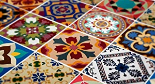 Tiles Stickers Decals - Packs with 48 Tiles (7.9 x 7.9 inches, Wall Art Decor Traditional Talavera Tiles Stickers for Kitchen Remodelation)