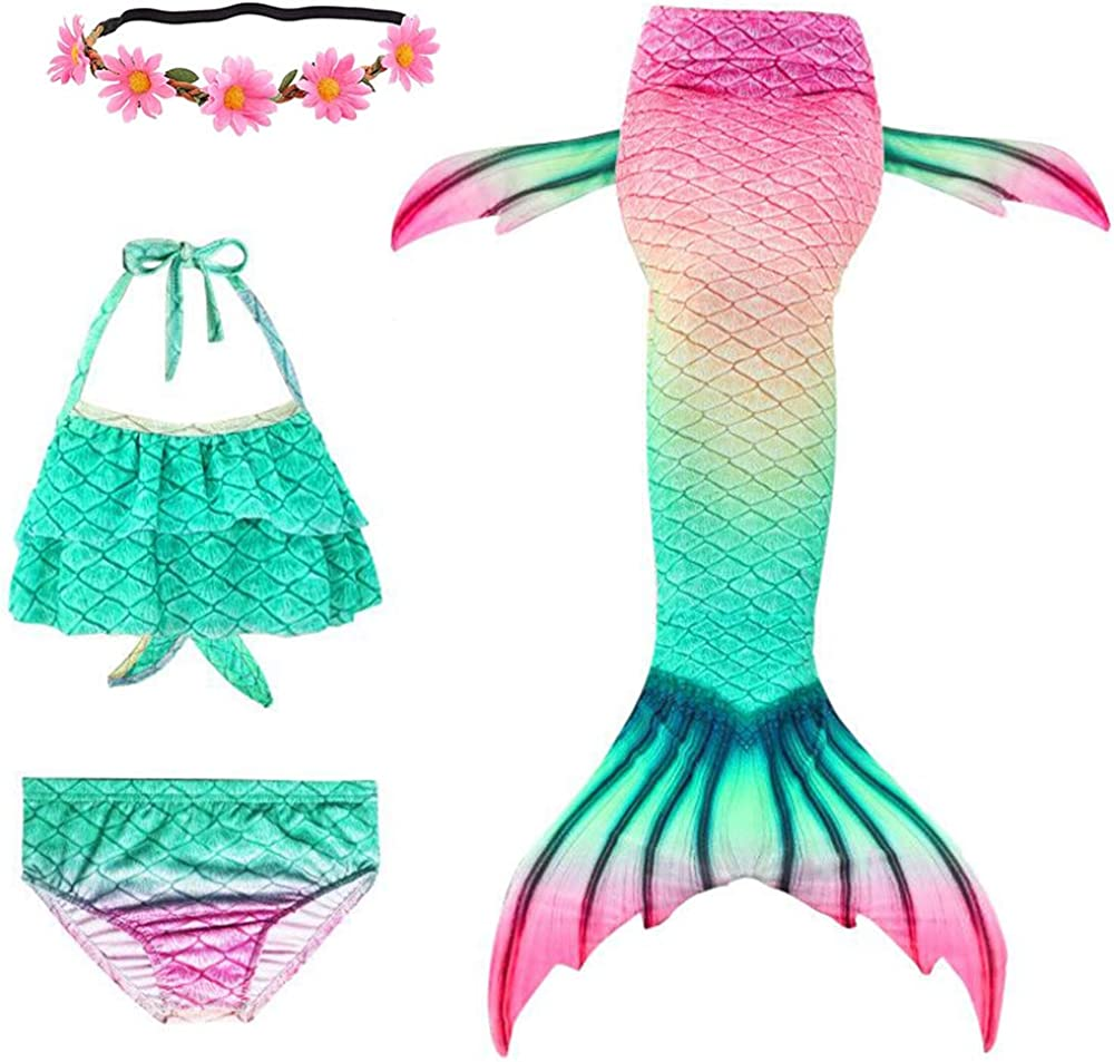 Newland 4 Pcs Max 87% OFF Girls Swimsuit for Princess Tails Easy-to-use Swimming Mermaid