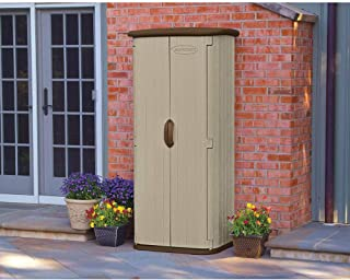 Suncast Vertical Utility Shed - Outdoor Storage Shed for Backyards and Patios - Storage and Shelving for Garden Tools and Accessories - Wood Grain Texture