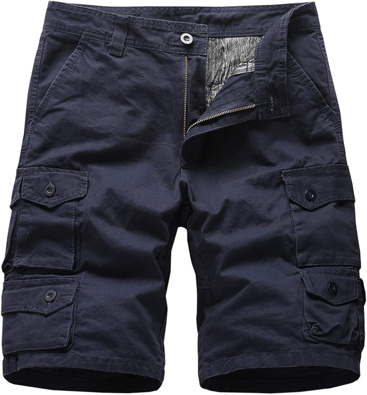 Men's Summer Casual Shorts Buttons Waist Knee Length Cargo Shorts Summer Multi-Pocket Relax Comfy Sports Short Pants