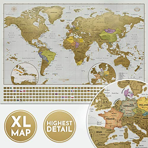 Mapa Rascar edición XXL - Un mapamundi extragrande personalizado y todas las banderas del país. El paquete de regalo incluye una herramienta para rascar con precisión y pegatinas de recuerdo de viajes