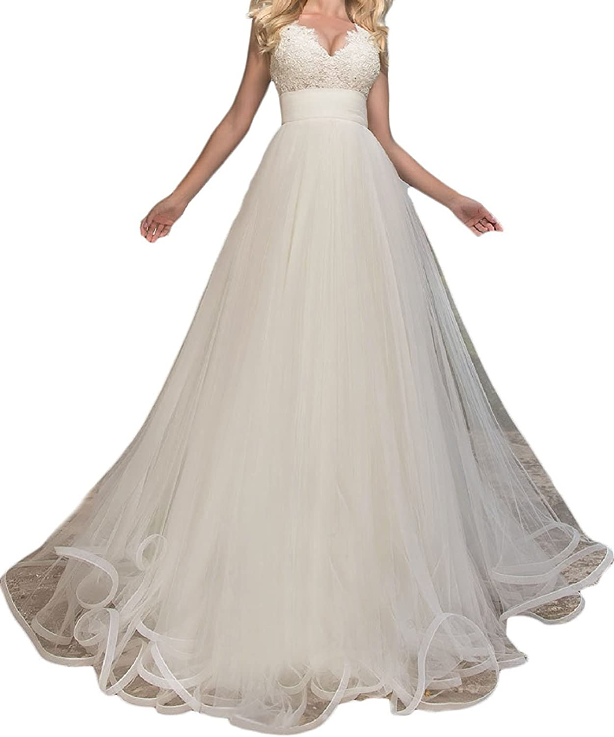 LISA.MOON Women's V Neck ALine Lace Applique Country Wedding Dresses Bridal Gown