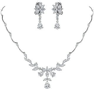 Clearine Women's Wedding Bridal CZ Marquise Shaped Flower Leaf Teardrop Y-Necklace Dangle Earrings Set