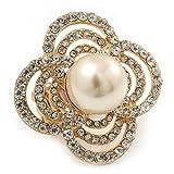 Diseño de vestido de fiesta grande, cuatro de cristal de pétalos,' Diseño de flores' perlas de imitación anillo elástico con una tira en bañados en oro - 40 mm a lo largo de la Tamaño 6 - / 7