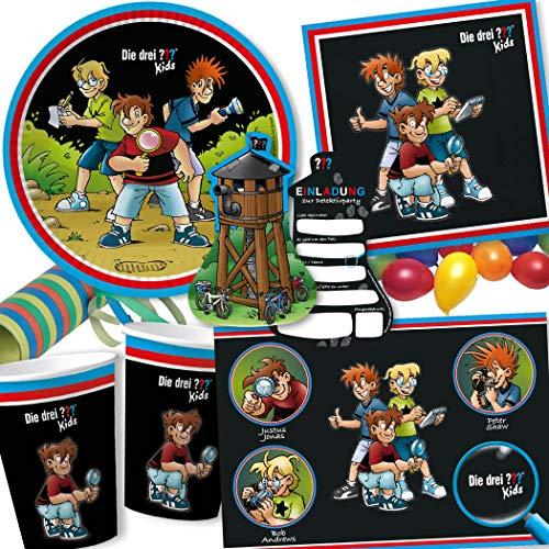 104-tlg Party-Set * DIE DREI ??? - KIDS * für Kindergeburtstag mit Teller + Becher + Servietten + Sticker + Einladungen + Tischsets + Luftschlangen + Luftballons | 3 Fragezeichen Detektiv Detektive
