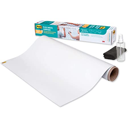 Post-it Flex Write Surface, Permanent Marker Wipes Away with Water, 3 ft x 2 ft, White Dry Erase Whiteboard Film (FWS3X2)