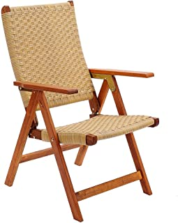 Achla Designs Eucalyptus Wood Indoor Outdoor Polyweave Folding Chair