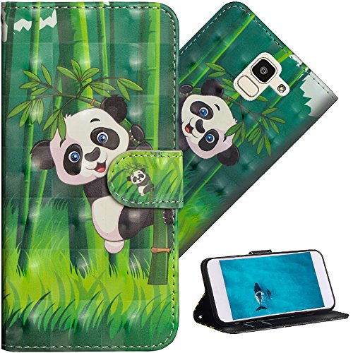 COTDINFOR pour Samsung Galaxy J6 2018 Custodia Cover TPU 3D Effect Painted PU in Pelle con Wallet Card Holder Flip Custodia per Samsung Galaxy J6 2018 / (EU Version) Climbing Bamboo Panda YX.