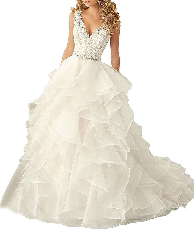 Weiterstar Women's Modern VNeck Applique Lace Beaded Layers Organza Wedding Dress