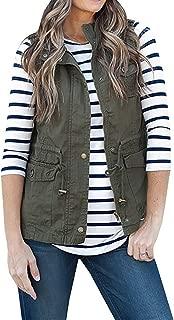 Annystore Women's Casual Sleeveless Lightweight Drawstring Botton Zipper Up Jacket Vest Coat with Pockets