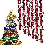 Anyingkai 6pcs Guirnalda de Oropel de Navidad,Espumillón de Navidad, Oropel de Navidad Decoración Colgante,Oropel Navidad,Oropel Arbol Navidad,Guirnaldas Colgantes Navidad (Rojo)