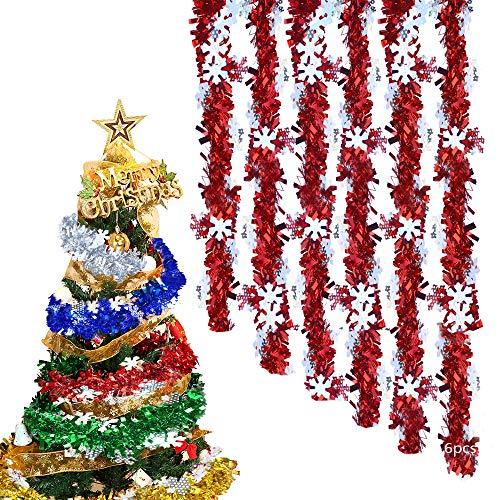 Anyingkai 6PCS Weihnachten Lametta Girlande,Weihnachtsbaum Lametta Girlande,Weihnachten Lametta Glänzend,Weihnachtsbaum Lametta Dekoration,Lametta,Girlande Weihnachtsbaum