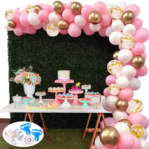 127Pcs Kit ghirlanda palloncino SPECOOL Kit arco palloncini Rosa bianca e oro Confetti palloncini lattice riempito Con palloncino nastro per compleanno sfondo di nozze Decorazione per feste