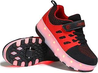 QMMD Bambini Luci a LED Scarpe con rotelle Doppia Ruota USB Ricaricabile Roller Shoes Sport all'AriaAperta Skate Roller da...