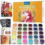 Kit de Tatuajes Temporales-Brillo de Tatuaje 30 Colores, 145 Únicas Plantillas,4 Pinceles-Carnaval,Fiestas Cumpleaños,Eventos- Impermeable,No Tóxico,Regalo para Niños