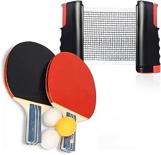 Juego de raquetas de tenis de mesa retráctil, 2 raquetas profesionales y 4 pelotas de ABS para jugar en interiores o exteriores, juego de pala de ping pong, con velocidad avanzada, giro y control