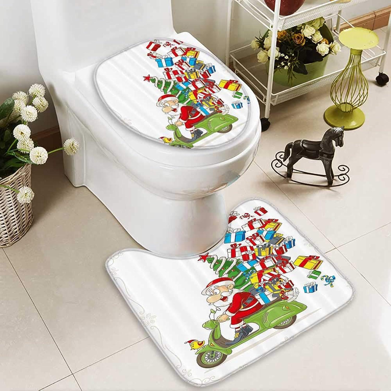 Bathroom Non-Slip Floor Mat Santa Motorbike Scooter Tree Gifts Funny Carto Kids Xmas Bird High Absorbency