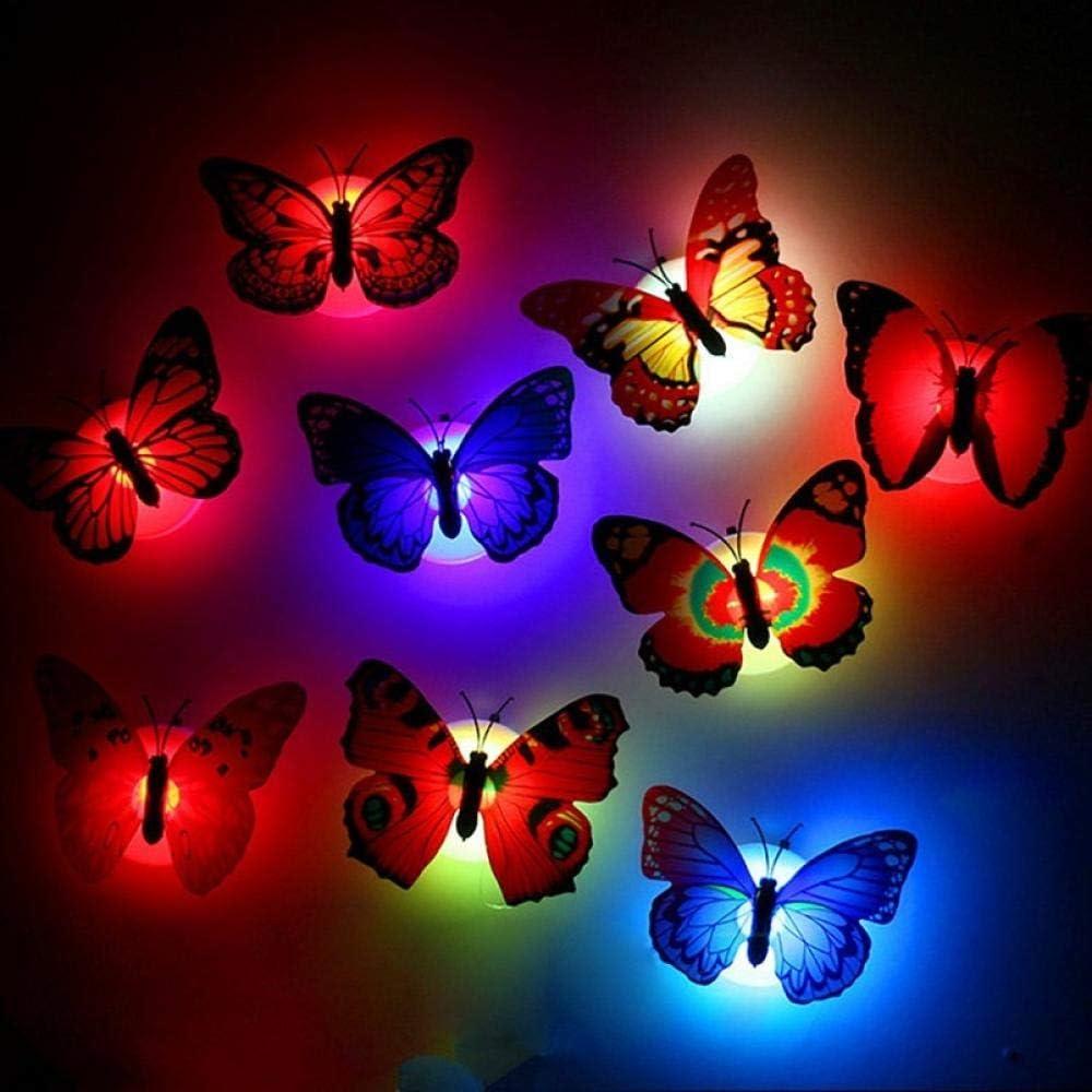 Luz De La Noche Del Beb/é Lovely Butterfly Led Night Light L/ámpara Luz Que Cambia Color Beautiful Homecorative Wall Nightlights-10Ocs
