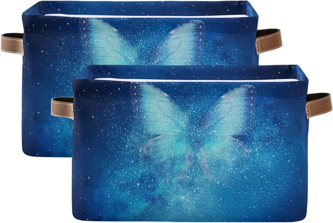 ADAKing Storage Basket Galaxy Animal Canv Butterfly Excellence 2 Pc Pattern Cheap mail order specialty store
