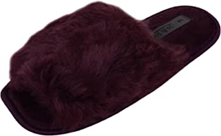 ABSOLUTE FOOTWEAR Ladies/Womens Slip On Slippers/Open Toe/Mules/Indoor Shoes with Faux Fur Outer