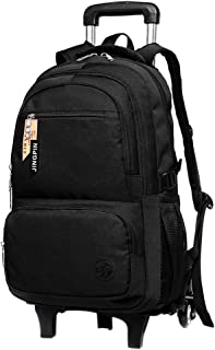 BOZEVON Children's Trolley Backpack - Fashion Simple Design Large Capacity Schoolbag, Black