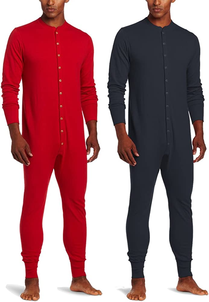 Duofold KMMU Men's Mid Weight Double Layer Thermal Union Suit L 1 Navy + 1 Red