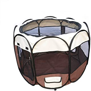 "Bloodyrippa Portable Foldable Pet Playpen with Carry Case, Water Resistant 600d Oxford Cloth, Top Zippered Mesh Cover, Removable Bottom Section, Portable Indoor/Outdoor Pet Play Tent for Dogs, Cats, 35"" x 35"" x 22"", Brown"