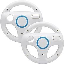 AZFUNN Mario Kart Steering Wheels, 2 Pack White Racing Wheel with Wii Wheel, Wii Mario Kart Game Remote Controller Accessories Driving Wheel for Mario Kart, Tank, More Wii U or Wii Games