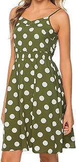 Haalife◕‿ Womens Floral Dress Backless Adjustable Spaghetti Strap Tie Back Plain Dress Summer Beach Slip Dress