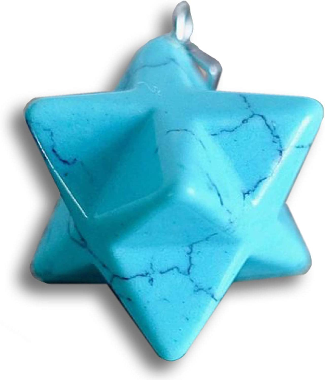 Galactikonsciousness Blue Turquoise Merkaba Pendant Natural Gemstone Home Decoration Meditation Reiki Prayer Yoga Handmade Collection Gift Crystal Healing Chakra