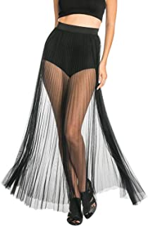 Women's Ruffle Sheer Mesh Swimwear Cover Up Pants